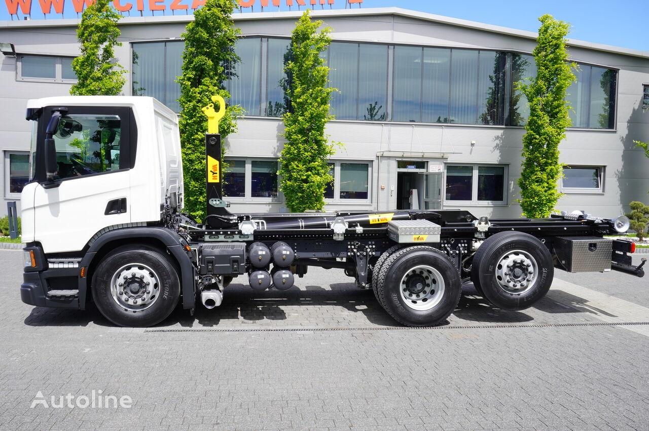 SCANIA P410 , E6 , 6X2 , 60k km , NEW HOOK 20T , steer / lift axle , Lo hook lift truck
